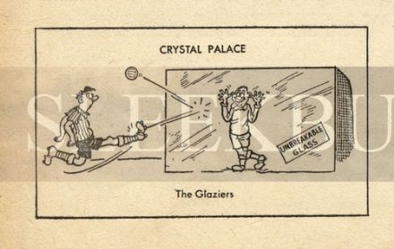 VINTAGE Football Print CRYSTAL PALACE - THE GLAZIERS Funny Cartoon